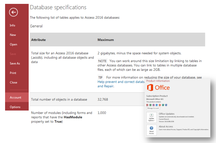 microsoft access 2016 database specifications