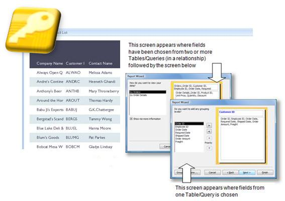 Access Database - Reports Screens