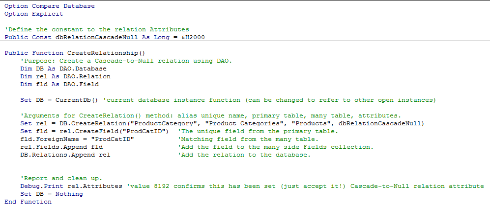 can a foreign key be null product category vba code