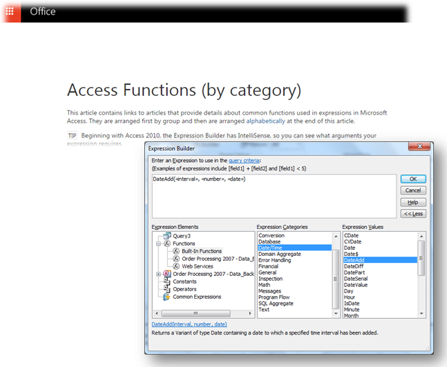 microsoft access database functions office