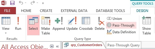 microsoft access database pass through queries