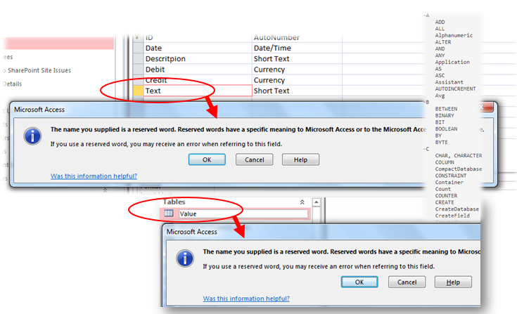 microsoft access database reserved names and words
