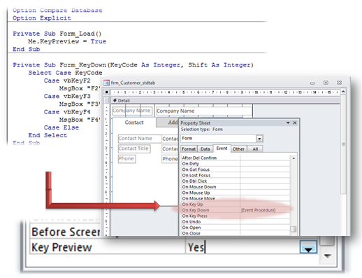 microsoft access forms keypreview property