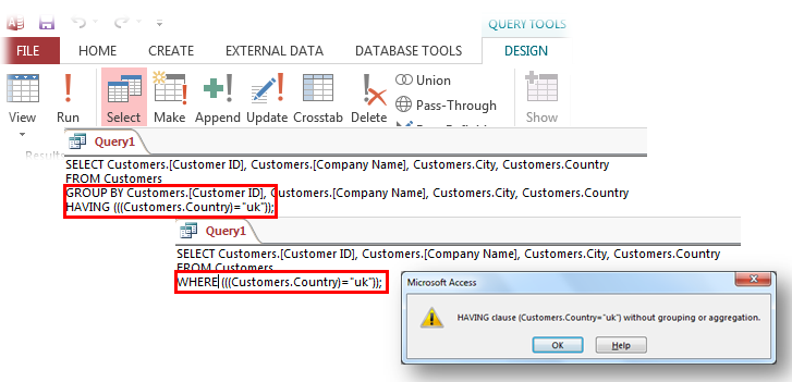 microsoft access queries difference between the where clause and the having clause