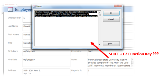 microsoft access tutorial shift f2