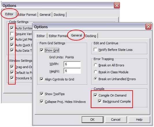 microsoft vba code options