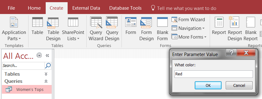 Create a ms access query Report in Microsoft Access 2016